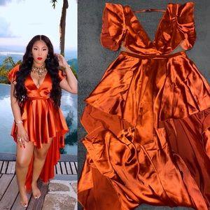 ASOS DESIGN Luxe premium satin high low maxi dress
